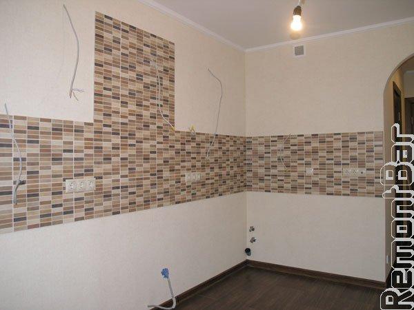 Кухонный фартук из керамической плитки (псевдомозаика), Новопеределкино