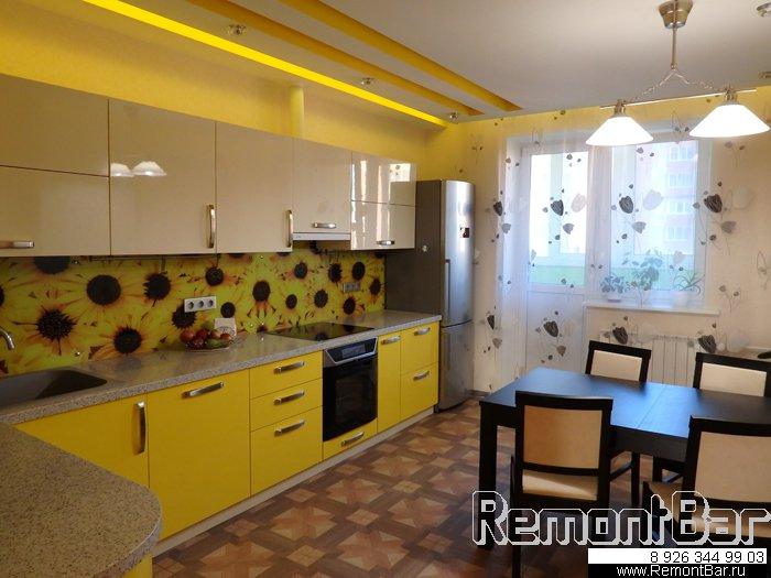 Кухня в ярко-желтых тонах, ремонт квартиры жк Чернышевского, Старые Химки