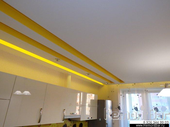 Часть перегородок и подвесные многоуровневые потолки в этой квартире (капитальная отделка квартиры в Химках, жк Чернышевского) мы выполнили из гипсокартона на металлокаркасе.