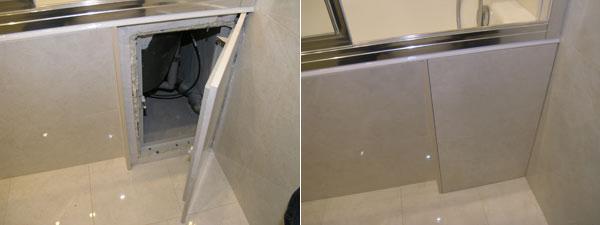 сделать сдвижной экран под ванну из плитки