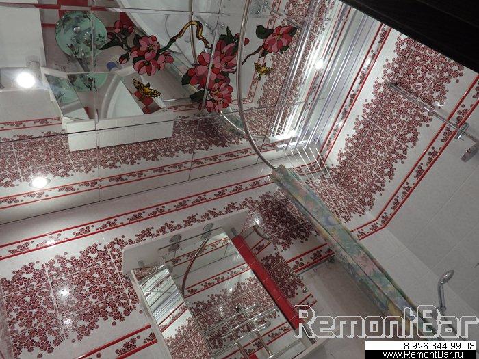 Витражный стеклянный потолок, ванная комната на проспекте Вернадского.