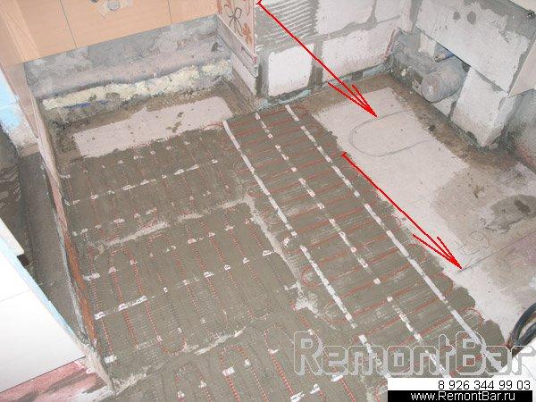 маты системы теплы пол в ванной комнате